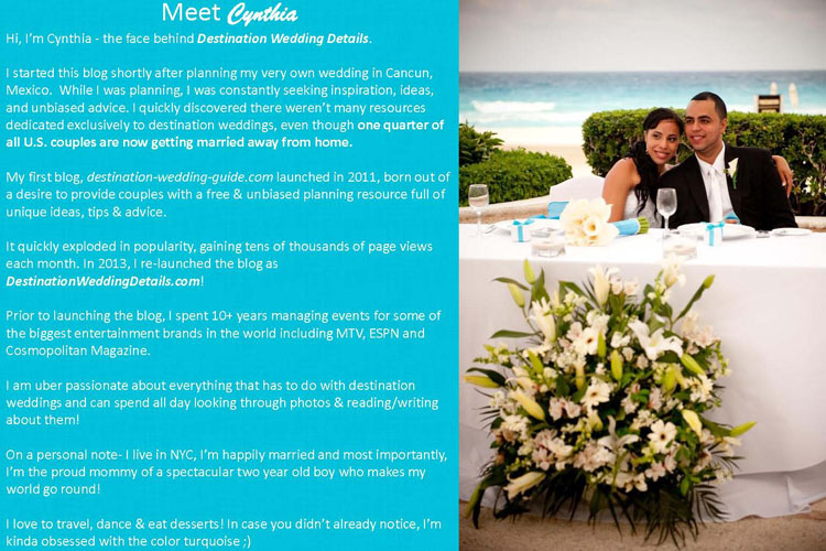 Blog Media Kit Example Destination Wedding Details